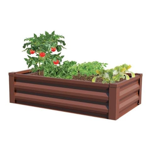 Panacea 12 in. H x 24 in. W Brown Steel Raised Garden Bed