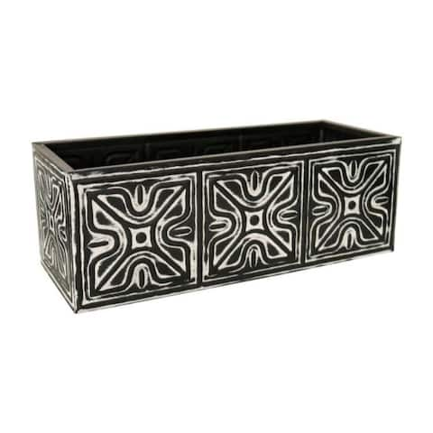 Robert Allen 7 in. H x 18 in. W Black Galvanized Steel Window Planter