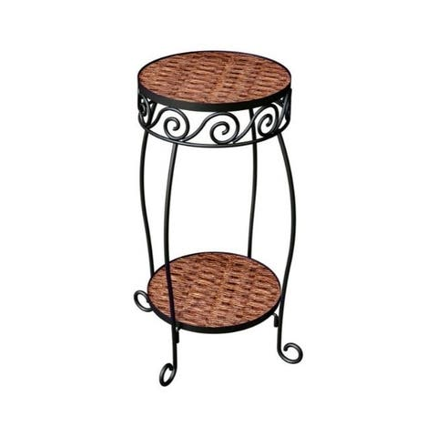 Panacea 20 in. H Brown Steel/Wicker Plant Stand