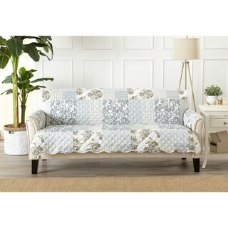 Great Bay Home Patchwork Scalloped Stain Resistant Printed Sofa Protector in Taupe (As Is Item)