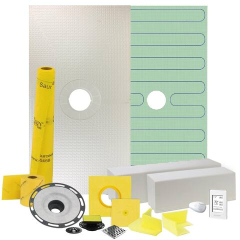 """Pro GEN II 48"""" x 48"""" Floor Heating and Shower Waterproofing Kit with Center Drain and ABS Flange"""