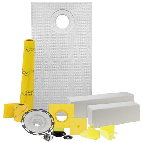 "Pro GEN II 32"" x 60"" Floor Heating and Shower Waterproofing Kit with Offset Drain and PVC Flange"