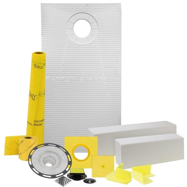 """Pro GEN II 32"""" x 60"""" Floor Heating and Shower Waterproofing Kit with Offset Drain and PVC Flange"""