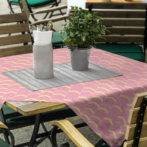 Full Color Lined Chevrons Square Tablecloth