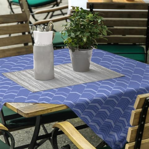 Monochromatic Lined Chevrons Square Tablecloth