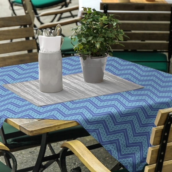Two Color Hand Drawn Chevrons Square Tablecloth - 58 x 58