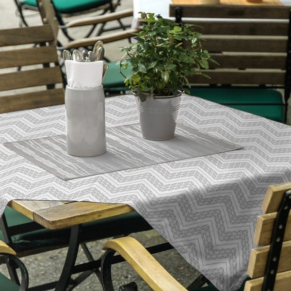 Reverse Classic Hand Drawn Chevrons Square Tablecloth - 58 x 58