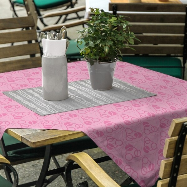 Monochrome Circles & Waves Square Tablecloth - 58 x 58