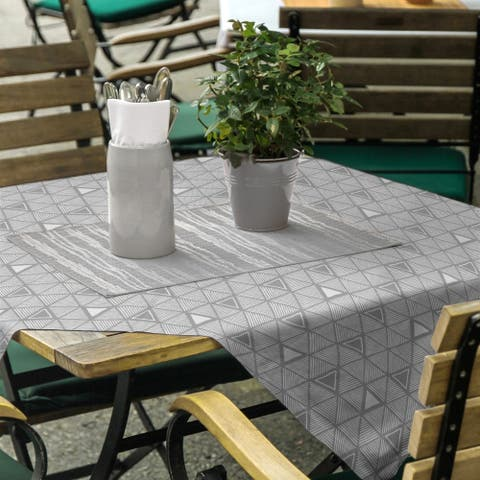 Classic Hand Drawn Triangles Square Tablecloth