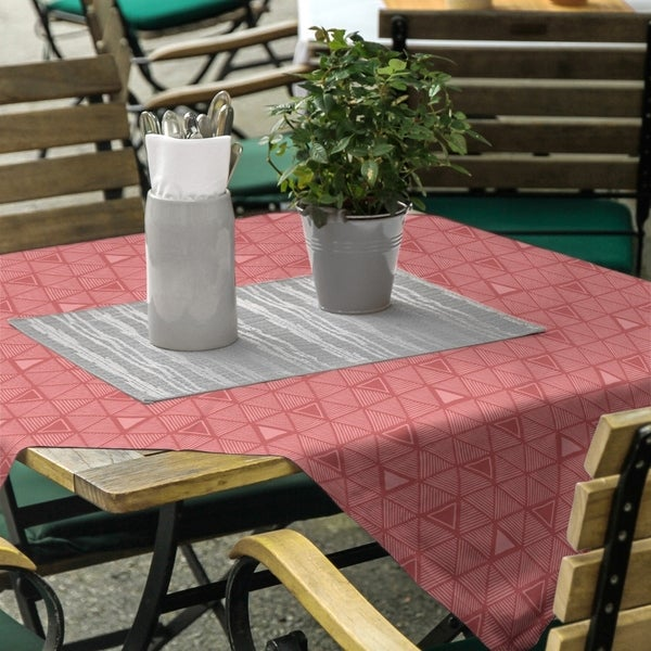 Monochrome Hand Drawn Triangle Pattern Square Tablecloth - 58 x 58