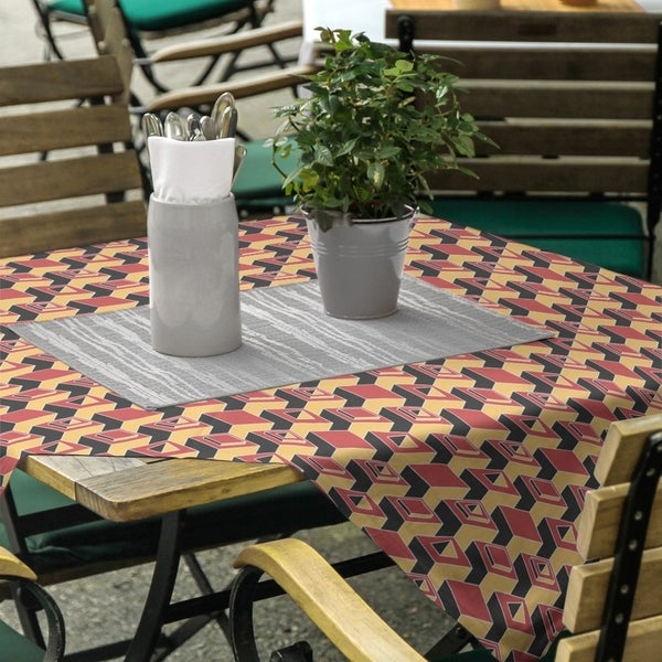 Two Color Dark Skyscrapers Pattern Square Tablecloth - 58 x 58