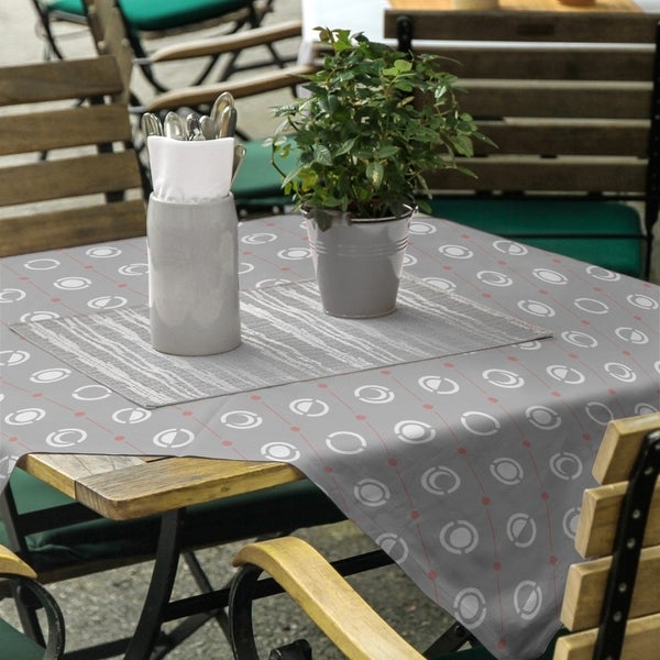 Gray Color Accent Moon Phases Square Tablecloth - 58 x 58