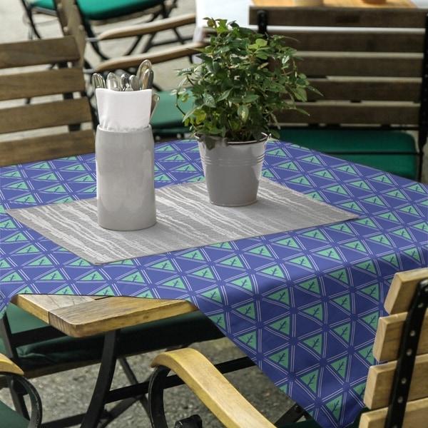 Three Color Minimalist Trees Square Tablecloth - 58 x 58