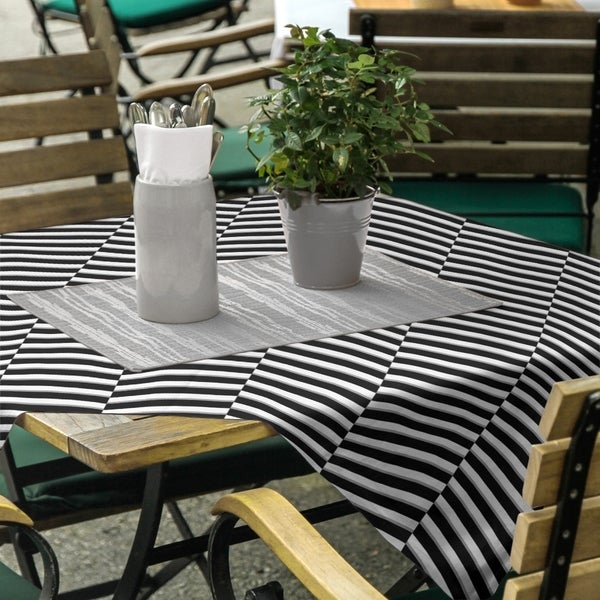 Two Color Fractured Stripes Square Tablecloth - 58 x 58