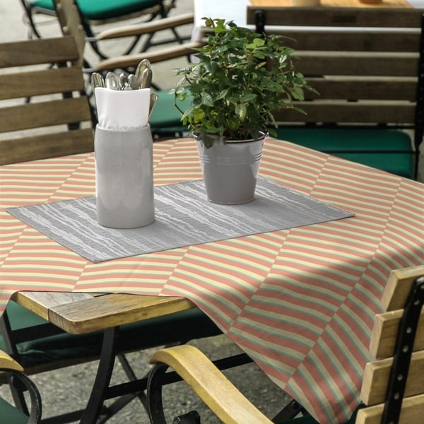Three Color Fractured Stripes Square Tablecloth - 58 x 58