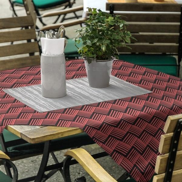 Black Contrast Basketweave Stripes Square Tablecloth. Opens flyout.