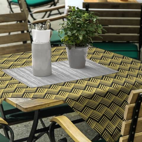 Black Contrast Basketweave Stripes Square Tablecloth