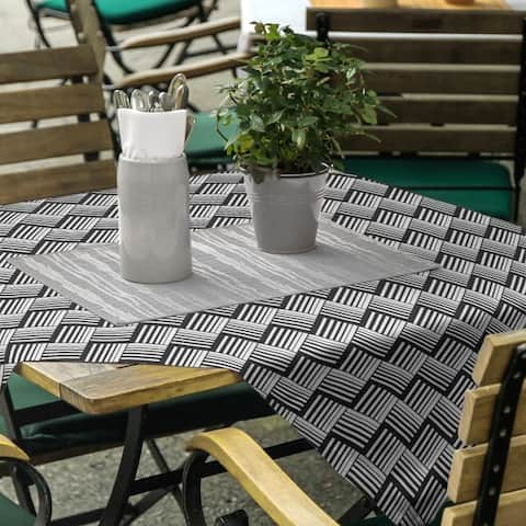 Black Contrast Basketweave Stripes Square Tablecloth
