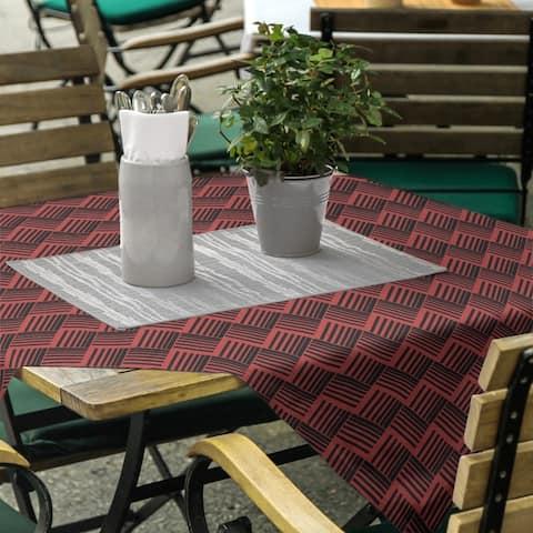 Black & Color Basketweave Stripes Square Tablecloth