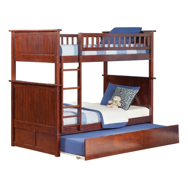 Nantucket Bunk Bed Twin over Twin with Twin Size Urban Trundle Bed in Walnut