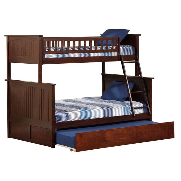Nantucket Bunk Bed Twin over Full with Twin Size Urban Trundle Bed in Walnut