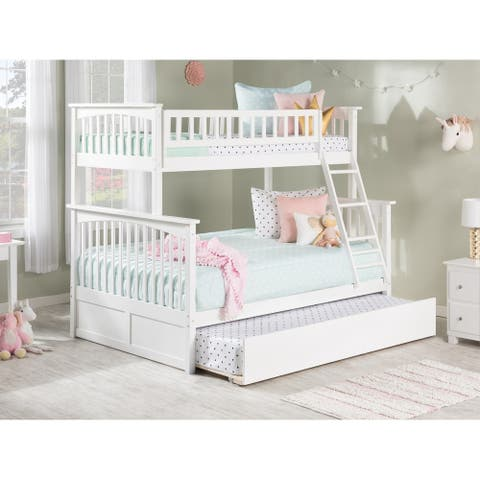 Columbia Bunk Bed Twin over Full with Twin Size Urban Trundle Bed in White