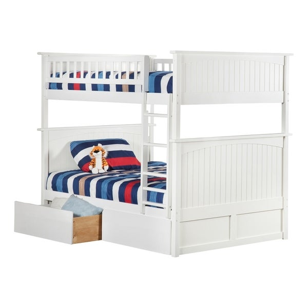 Nantucket Bunk Bed Full over Full with 2 Urban Bed Drawers in White