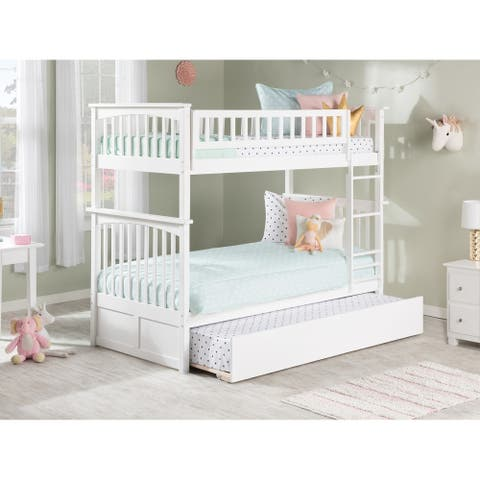 Columbia White Twin over Twin Bunk Bed with Trundle