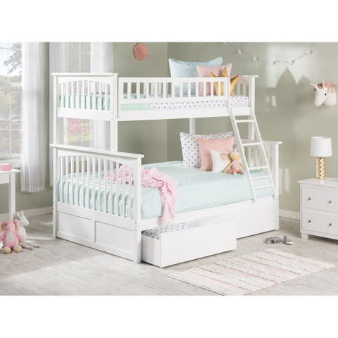 Columbia Bunk Bed Twin over Full with 2 Urban Bed Drawers in White