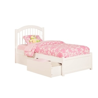 Windsor Full Platform Bed with Flat Panel Foot Board and 2 Flat Panel Bed Drawers White