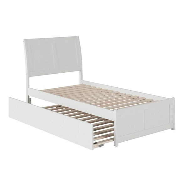 Portland Twin Platform Bed with Matching Foot Board with Twin Size Urban Trundle Bed in White