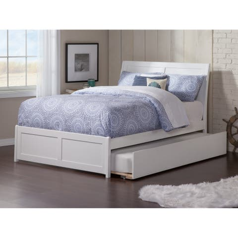 Portland Full Platform Bed with Matching Foot Board with Twin Size Urban Trundle Bed in White