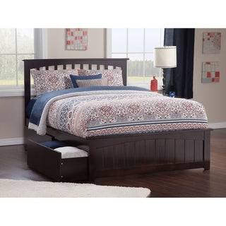 Mission Full Platform Bed with Matching Foot Board with 2 Urban Bed Drawers in Espresso