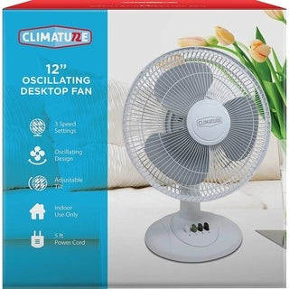 "Climature 12"" Oscillating Desktop Fan-White"