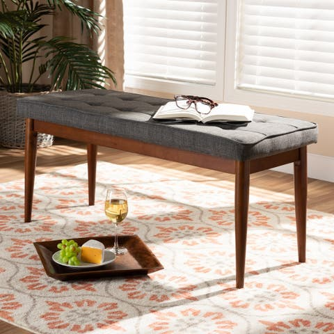 Mid-Century Modern Fabric Upholstered Dining Bench
