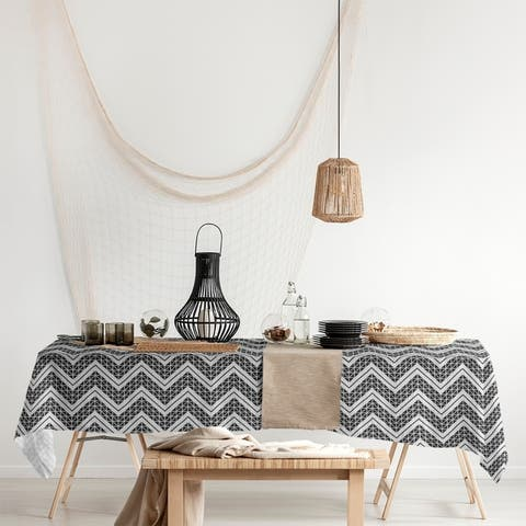 Reverse Classic Hand Drawn Chevrons Rectangle Tablecloth - 58 x 102