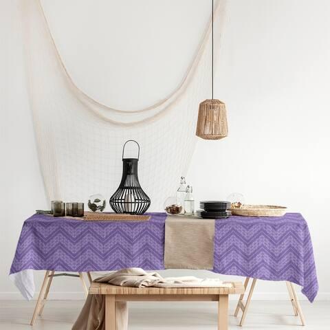 Monochromatic Hand Drawn Chevron Pattern Rectangle Tablecloth - 58 x 102