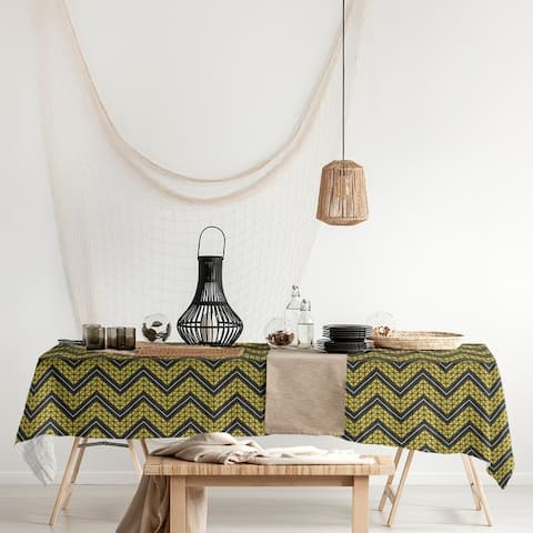 Color Accent Hand Drawn Chevron Pattern Rectangle Tablecloth - 58 x 102