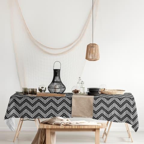 Classic Hand Drawn Chevron Pattern Rectangle Tablecloth - 58 x 102