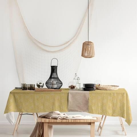 Monochrome Zig Zag Pattern Rectangle Tablecloth - 58 x 102