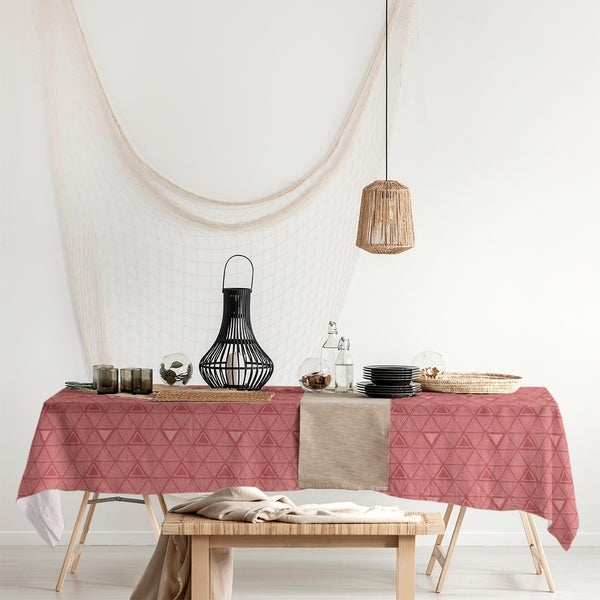 Monochrome Hand Drawn Triangle Pattern Rectangle Tablecloth - 58 x 102