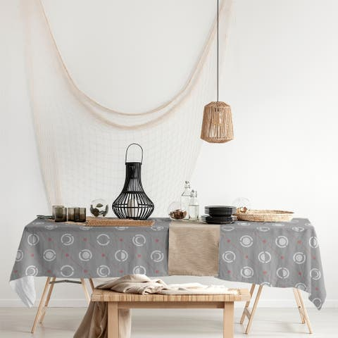 Gray Color Accent Moon Phases Rectangle Tablecloth - 58 x 102