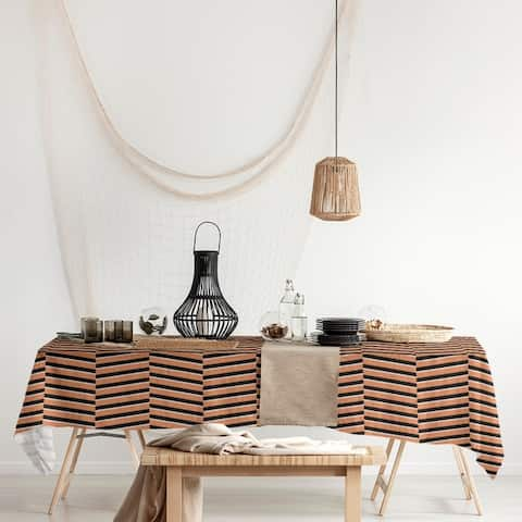 Black & Color Fractured Stripes Rectangle Tablecloth - 58 x 102