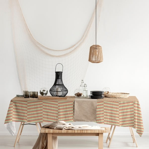 Three Color Fractured Stripes Rectangle Tablecloth - 58 x 102