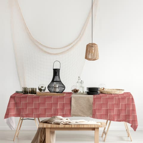 Monochrome Basketweave Stripes Rectangle Tablecloth - 58 x 102
