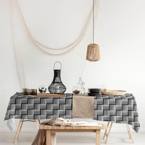 Black Contrast Basketweave Stripes Rectangle Tablecloth - 58 x 102