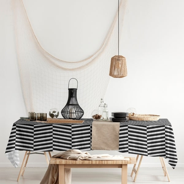 Two Color Fractured Stripes Rectangle Tablecloth - 58 x 102