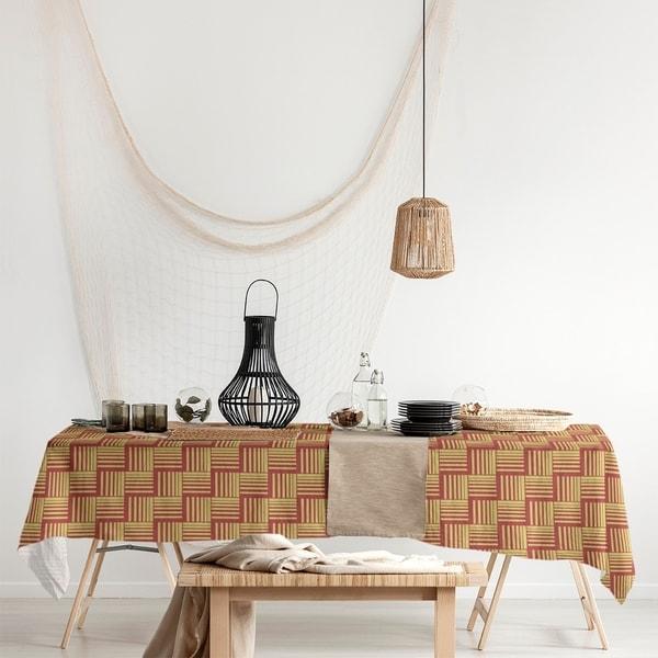 Color Contrast Basketweave Stripes Rectangle Tablecloth - 58 x 102