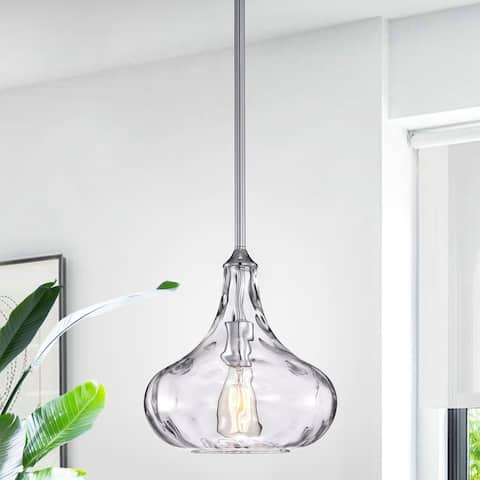 Enielle Single Light Chrome Pendant with Glass Shade