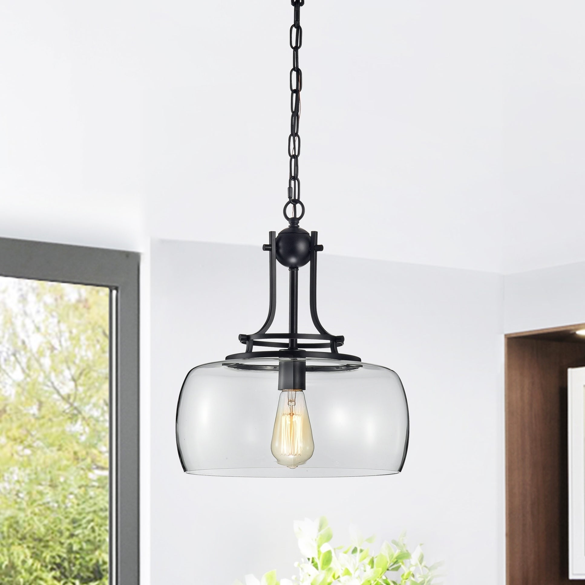 Shop Black Friday Deals On Karha Single Light Matte Black Pendant With Glass Shade Overstock 28546973